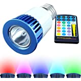 RGB Multicolor LED Bulb - 5 Watt PAR16, E26 Base, Remote With 16 Colors and 8 Functions - For Bars, Restaurants, Stage Productions, Media Rooms and More