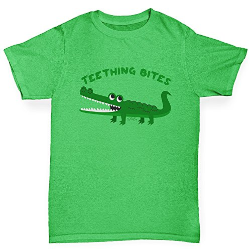 Bite Green T-shirt - TWISTED ENVY Funny t Shirts for Boys Teething Bites Crocodile Age 3-4 Green