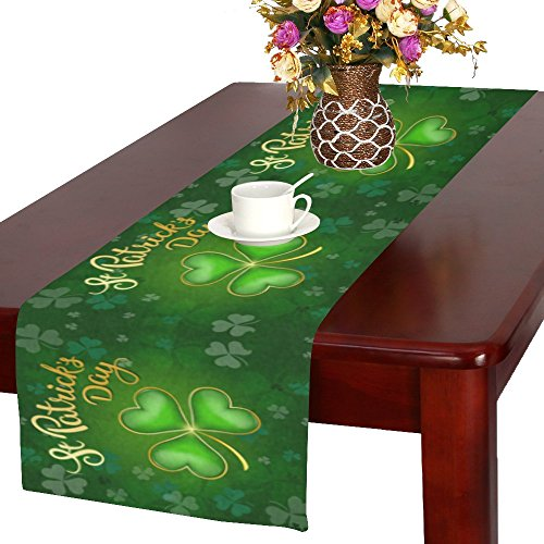 InterestPrint Shamrock St. Patricks Day Long Table Runner 16 X 72 Inches, Green Clover Pattern Rectangle Table Runner Cotton Linen Cloth Placemat for Office Kitchen Dining Wedding Party Home Decor