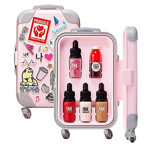 Peripera 2017 SS New Fashion People's Carrier - Mini Mini Peppy Full Make Up Travel Kit (Tint, Concealer, Eye Shadow) (Pink)