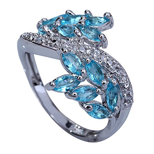 Yazilind 10*3mm Marquise Cut Bule Created Topaz Silver Plated Size 7 Ring