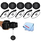 62mm Pro Series 5 Snap On Lens Caps and 5 Lens Cap Keepers For Canon, Nikon, Pentax, Fujifilm, Sony, Panasonic, Olympus & More Models