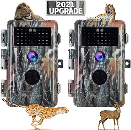 [2021 Upgrade] 2-Pack Night Vision Game Trail Cameras 20MP 1080P H.264 MP4 Video No Glow Deer Hunting Cams IP66…