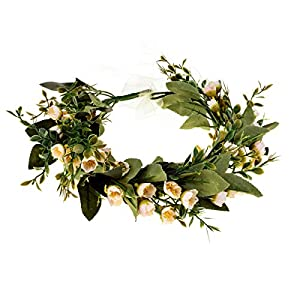 DDazzling Flower Girl Crown Bridal Flower Crown Pregnant Woman Photo Prop (Green and Ivory) 11