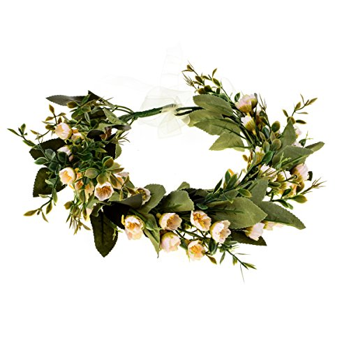 (DDazzling Flower Girl Crown Bridal Flower Crown Pregnant Woman Photo Prop (Green and Ivory))