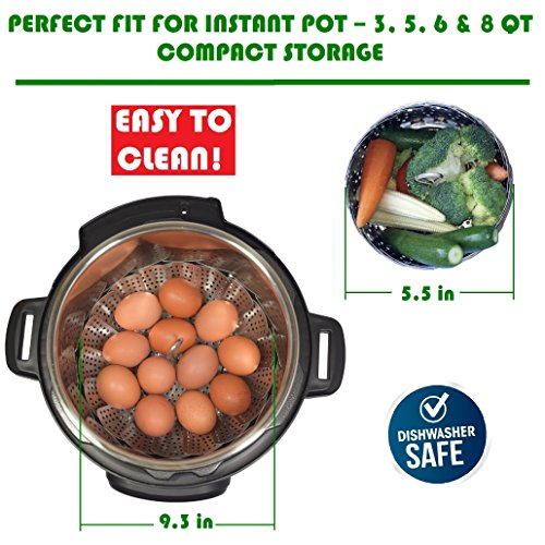 PREMIUM Vegetable Steamer Basket - BEST Bundle - Fits Instant Pot Pressure Cooker 3,5,6 Qt & 8 Quart - 100% Stainless Steel - BONUS Accessories - Safety Tool + eBook + Peeler | For Instapot - Egg Rack by kitchen deluxe (Image #2)
