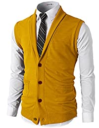 H2H Mens Casual Slim Fit Lightweight Basic Shawl Collar Knitted Thin Fabric Vest