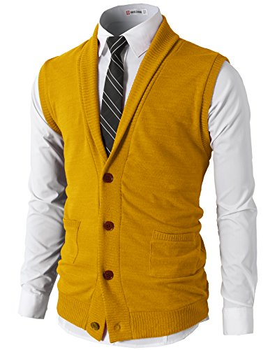 H2H Mens Casual Basic Shawl Collar Knitted Slim Fit Vest with Pockets Mustard US L/Asia XL (CMOV034)
