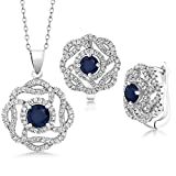 5.30 Ct Round Blue Sapphire 925 Sterling Silver Pendant Earrings Set