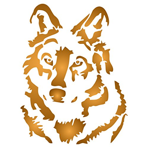 Wild Animal Stencils (Stencils for Walls - Wolf Stencil - 14 x 18 inch (L) - Reusable Dog Wild Animal Wolf Head Stencils for Painting - Use on Paper Projects Walls Floors Fabric Furniture Glass Wood etc.)