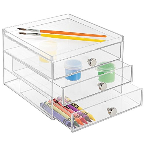 mDesign Art Supplies, Crafts, Crayons and Sewing Organizer - 3 Slim Drawers, Clear (Clear Crayon)