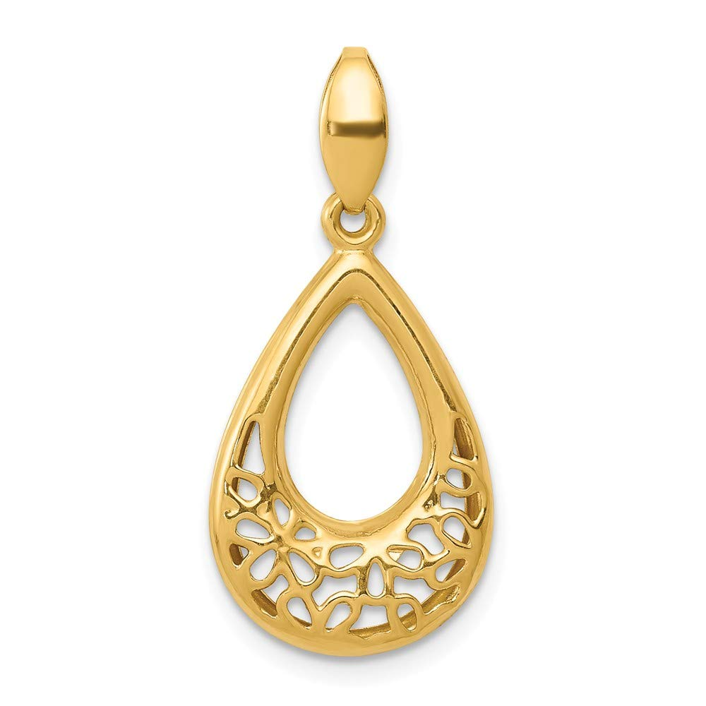 14K Yellow Gold Polished Floral Teardrop Pendant Hollow 12.5 mm 27 mm Themed Pendants /& Charms Jewelry