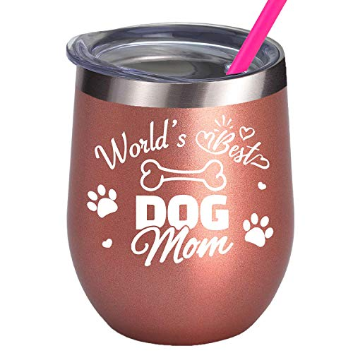 Dog Lover Birthday Gifts for Best Friend Women Lady Dog MOM Wine Glass Tumbler