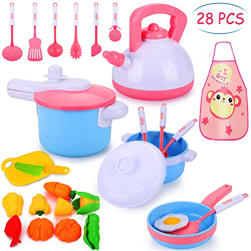Auney 28Pcs Kids Kitchen Pretend Play Accessories Toys, Cooking Set, Pots and Pans, Cookware Playset, Healthy Cutting Vegetables, Knife, Utensils, Learning Toys for Girls, Boys, Toddlers