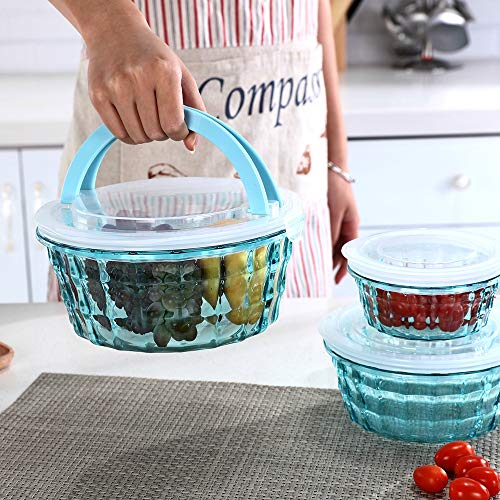 Mixing Bowl Dinnerware - Bowls with Lids Set - Plastic Clear Mixing Bowls - Elegant salad Bowls - Large Capacity Serving Bowl Set - Microwave, Dishwasher, Freezer Safe - 3 Piece Bowl Set, Essential Kitchen Accessories