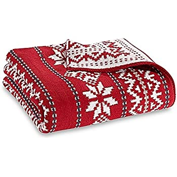 Amazon.com: Fair Isle Knit Throw Blanket in Red: Home & Kitchen