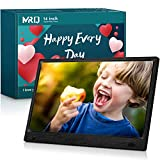 MRQ 14 Inch Full HD Digital Photo Frame 1920x1080 High-Resolution IPS Screen, Support 720P Video, with 180° Viewing Angle, Motion Sensor, Auto-Rotate, and Display Photos with Background Music
