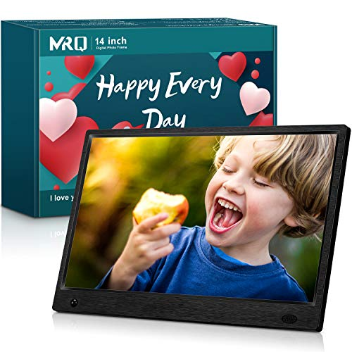 MRQ 14 Inch Full HD Digital Photo Frame 1920x1080 High-Resolution IPS Screen, Support 720P Video, with 180° Viewing Angle, Motion Sensor, Auto-Rotate, and Display Photos with Background Music (Smile Picture Frame)