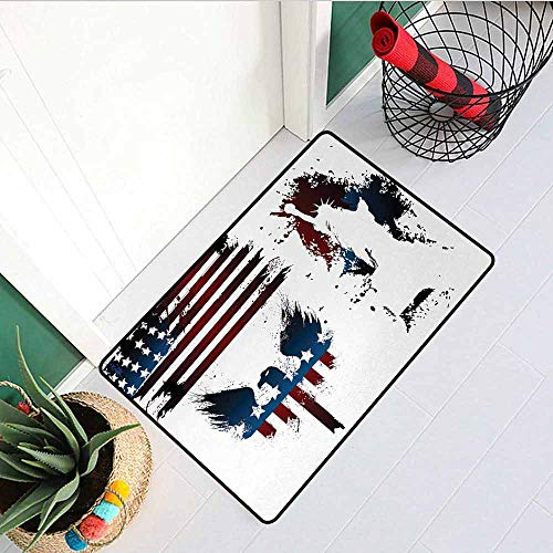 Gloria Johnson American Flag Universal Door mat Set with Bald Eagle Symbol and Stripes Stars Statue of Liberty Grunge Retro Door mat Floor Decoration W23.6 x L35.4 Inch Navy Maroon