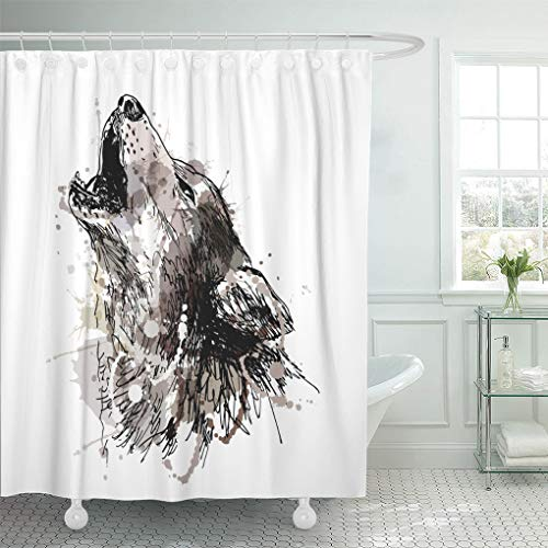 Emvency Shower Curtain Waterproof Polyester Fabric 72 x 78 inches Watercolor Sketch Colored Hand Drawing of Howling Wolf Gray Draw Halloween Dog Paint Set with Hooks Decorative -