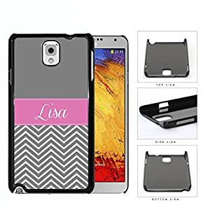 Gray Top Block with Gray and White Chevron Bottom and Pink White Monogram in Center Hard Plastic Snap On Cell Phone Case Samsung Galaxy Note 3 III N9000 N9002 N9005 by lolosakes