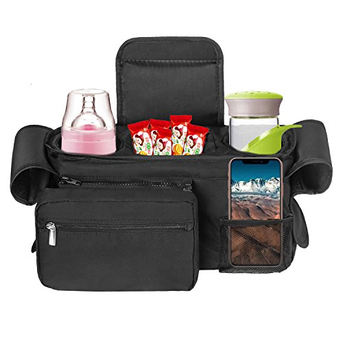Simboom Stroller Organizer Bag for Moms, Universal Large Storage Space for Cups, Diapers, Toys, Snacks, Phones, Wallets and Other Baby Accessories (Black) from Simboom