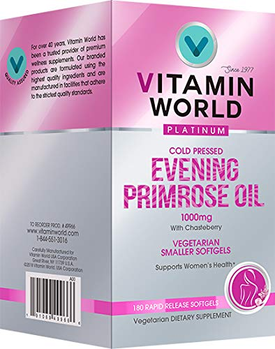 Vitamin World Platinum Evening Primrose Oil 1000 mg. 180 Softgels, Cold Pressed, with Chasteberry, Women's Health, Vegetarian by Vitamin World (Image #1)
