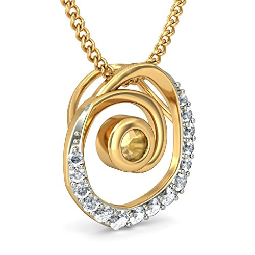 14 K Or jaune 0,14 CT TW Round-cut-diamond (IJ | SI) et citrine Pendentif