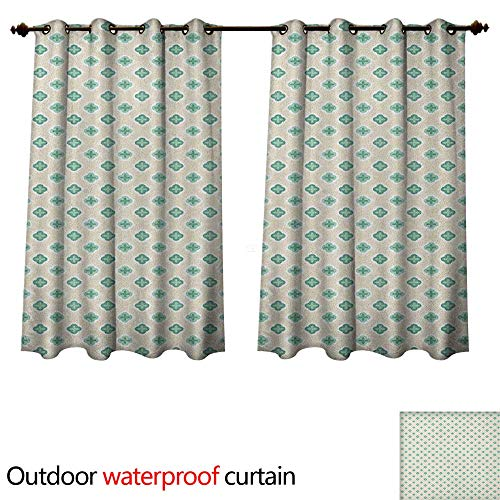 Turquoise Outdoor Curtains for Patio Sheer Retro Cross Pattern Abstract Geometric Plus Figure Oval Frame Design Vintage W55 x L45(140cm x 115cm)