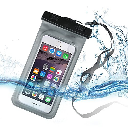 Universal Waterproof Phone Bag Cellphone Dry Bag Pouch Touchscreen Sensitive Compatible for iPhone X/8/8plus/7/7plus/6s/6/6s Plus Google Pixel HTC10 Galaxy s8/s7 or other Smartphone up to 6.5 – Bla
