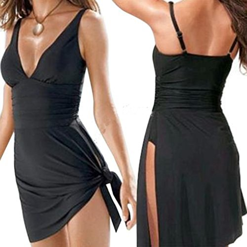 HARRYSTORE 2017 Hot Mujeres Push-up de una pieza Swim Dress Bikini Swimsuit Tankini Swimwear Negro