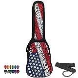 ChromaCast USA Flag Graphic Multi-Pocket Padded Electric Guitar Gig Bag with Guitar Strap & Pick Sampler