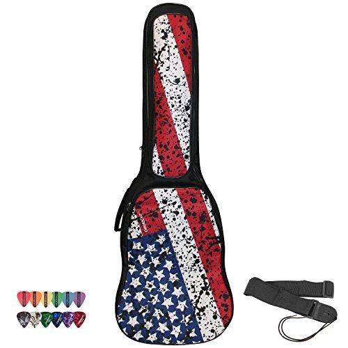 ChromaCast USA Flag Graphic Multi-Pocket Padded Electric Guitar Gig Bag with Guitar Strap & Pick Sampler by ChromaCast