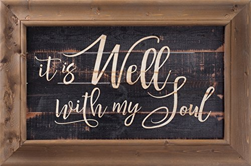 It Is Well With My Soul 30 x 20 Inch Solid Pine Wood Farmhouse Frame Wall Plaque