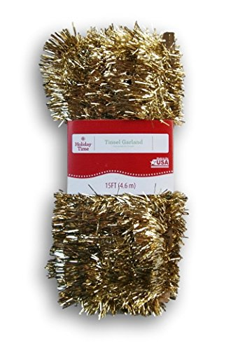 Holiday Time Christmas Tinsel Garland - Champagne Gold - 15 Ft (Garland Tinsel Gold)