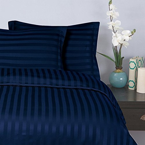 Elegant Comfort Wrinkle & Fade Resistant 1500 Thread Count Egyptian Quality Damask Stripes Luxurious Silky Soft 3pc Duvet Cover Set, Full/Queen, Navy Blue - Navy Damask Stripe