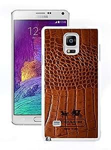 Newest Coach 83 White Samsung Galaxy Note 4 Screen Cover Case Fashion and Genuine Design