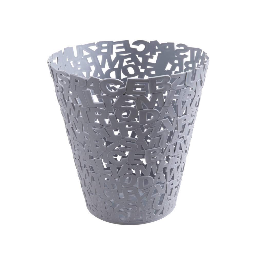 Trash Can Plastic Letter Hollow Trash Bin Bathroom No Cover Household Living Room Kitchen Large Paper Basket (Color : GRAY) Cxf Trade