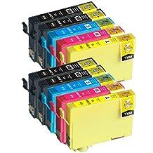 10x Imprimieux Cartouche Encre T200 XL 4BK 2C 2M 2Y Compatible pour Epson XP-310 XP-410 XP-200 WF-2540 WF-2530