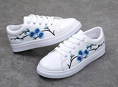 D-sun Femmes Brodées Fleur De Prune Baskets Casual Bout Rond Espadrilles Plates Bleu