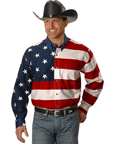 (Roper Men's Stars & Stripes Pieced Flag Shirt L/S, Red 1XT)