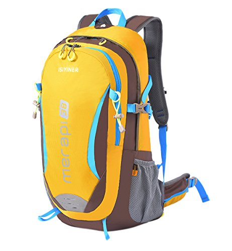 ISIYINER 38L Outdoor Hiking Camping Backpack Backpacking Trekking Bag Travel Daypack Nylon Men Women Water Repellent with Rain Cover YKK Zipper for Exploring Climbing Cycling Mountaineering Yellow by ISIYINER
