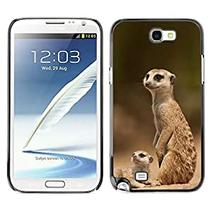 Exotic-Star Fundas Cover Cubre Hard Case Cover para Samsung Galaxy Note 2 II / N7100 ( La familia de Meerkat )
