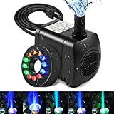 Submersible Fountain Pump, Intsun 220GPH(800L/H, 15W) Ultra Quiet Water Pump with 12 LED