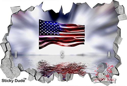 3D Effect USA Flag with glowing background Decal - High resolution Print Removable/DIY Wall Stickers for Walls,Ceiling, Cabinets, Closets or Home Decor