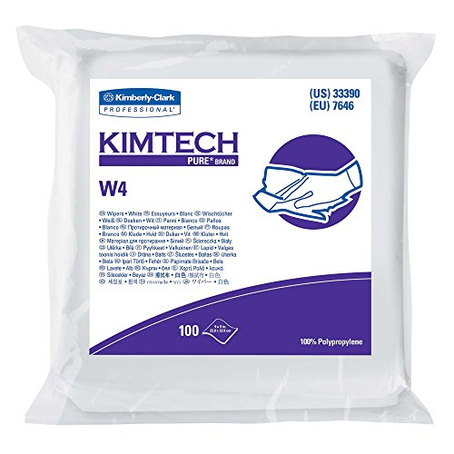 "(Kimtech Pure W4 Dry Wipers (33390), with Anti-Stat Resealable Double-Bag Pouch, 9"" x 9"", White, 500 Wipes / Case, 5 Packs of 100 Wipes)"