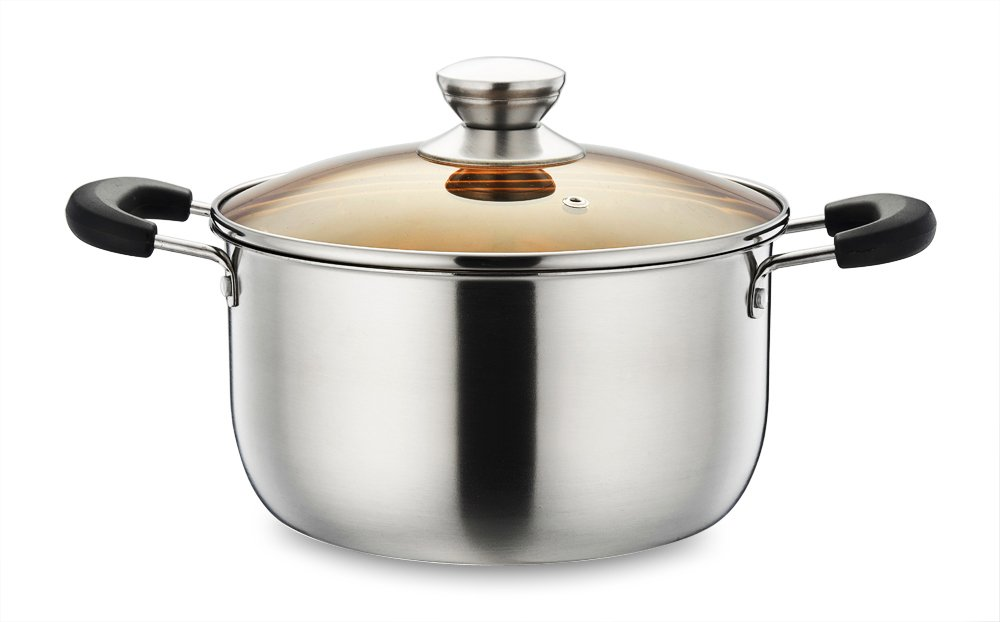 P&P CHEF 4 Quart Stockpot, Stainless Steel Stock Pot with Lid, Heat-Proof Double Handles - Dishwasher Safe
