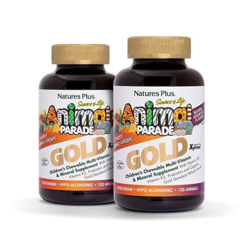 Animal Vitamins - Natures Plus Animal Parade Source of Life Gold Childrens Multivitamin (2 Pack) - Assorted Cherry, Orange & Grape Flavors - 120 Chewable Animal Shaped Tablets - Organic, Gluten Free - 120 Servings
