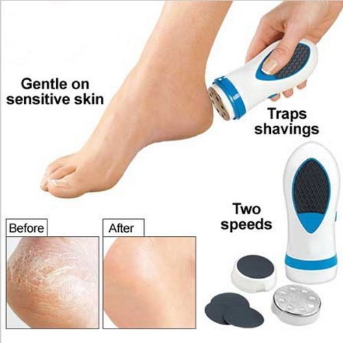 Happy Hours® Hot As-seen-on-TV Callus Remover Portable Double Speed Foot Care Electric Pedicure Callus Dry Skin Removal Device Cuticle Debris Remover Leg / Soles / Heels Massage Tool Kit (Batteries Are not Provided)