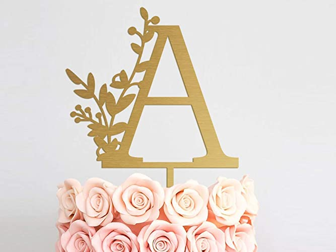 Amazon.com: Wedding Cake Toppers Letter A Z Cake Topper Monogram